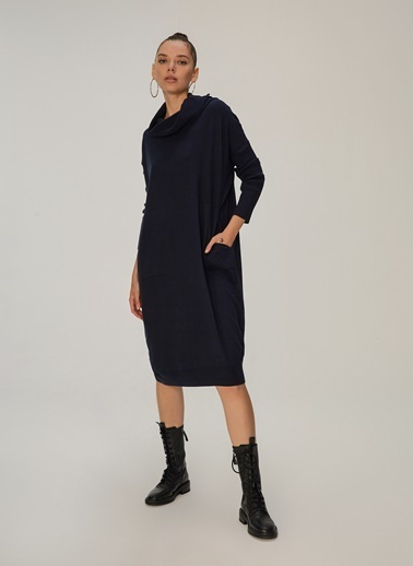 NGSTYLE Degaje Yaka Cepli Oversize Elbise Lacivert